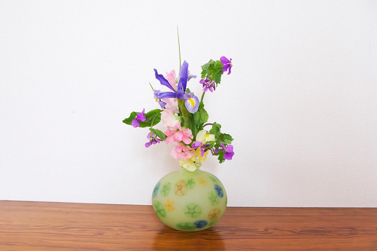 厚木グラススタジオ花器 [新緑]